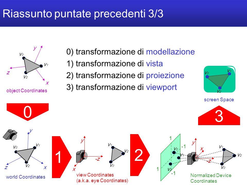 C o m p u t e r G r a p h i c s 2 0 0 5 / 0 6 U n i v e r s i t à d e l l I n s u b r i a - 4/40 Riassunto puntate precedenti 3/3 z y x v0v0 v1v1 v2v2 world Coordinates 1 1) transformazione di vista 2) transformazione di proiezione 3) transformazione di viewport 2 y -z v0v0 v1v1 v2v2 view Coordinates (a.k.a.