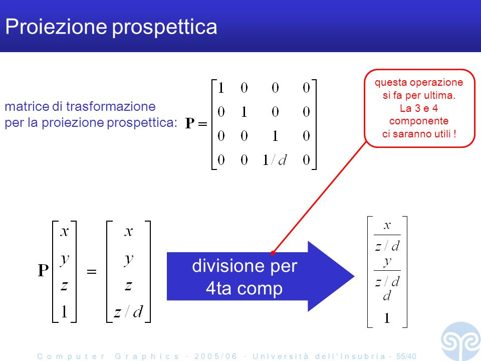 C o m p u t e r G r a p h i c s 2 0 0 5 / 0 6 U n i v e r s i t à d e l l I n s u b r i a - 55/40 Proiezione prospettica divisione per 4ta comp matrice di trasformazione per la proiezione prospettica: questa operazione si fa per ultima.
