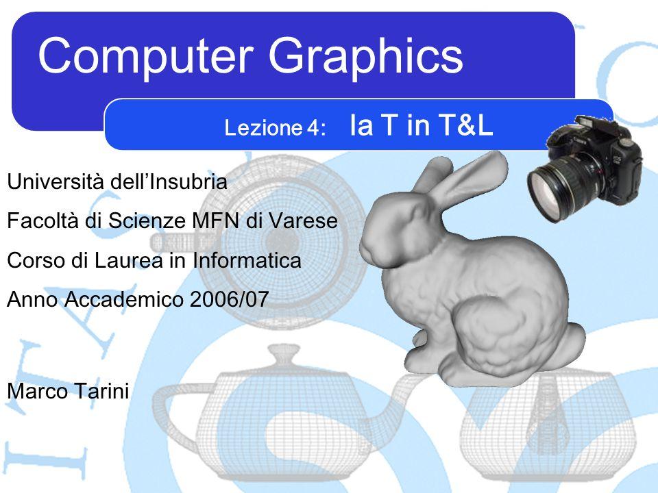 Computer Graphics Marco Tarini Università dellInsubria Facoltà di Scienze MFN di Varese Corso di Laurea in Informatica Anno Accademico 2006/07 Lezione 4: la T in T&L