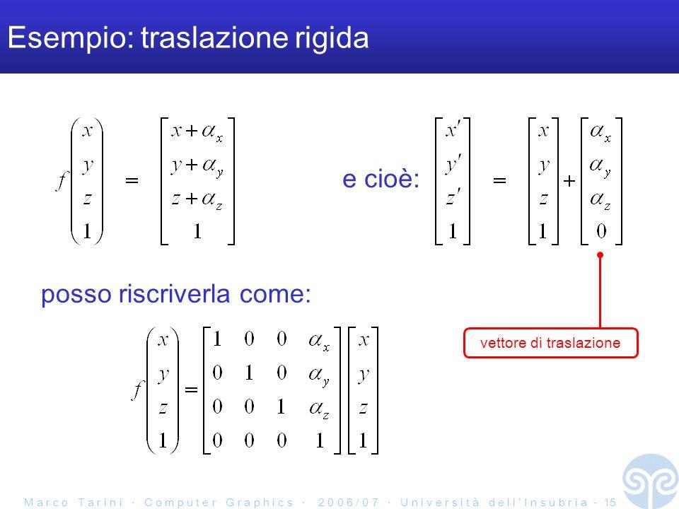 M a r c o T a r i n i C o m p u t e r G r a p h i c s 2 0 0 6 / 0 7 U n i v e r s i t à d e l l I n s u b r i a - 15 Esempio: traslazione rigida posso riscriverla come: e cioè: vettore di traslazione