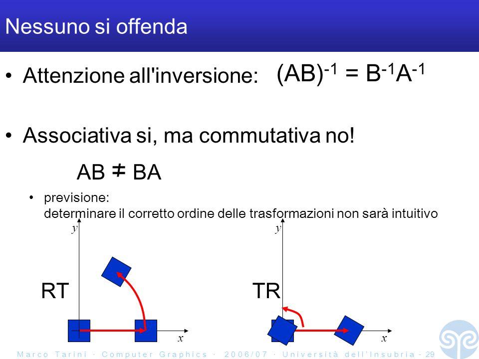 M a r c o T a r i n i C o m p u t e r G r a p h i c s 2 0 0 6 / 0 7 U n i v e r s i t à d e l l I n s u b r i a - 29 Nessuno si offenda Attenzione all inversione: (AB) -1 = B -1 A -1 Associativa si, ma commutativa no.