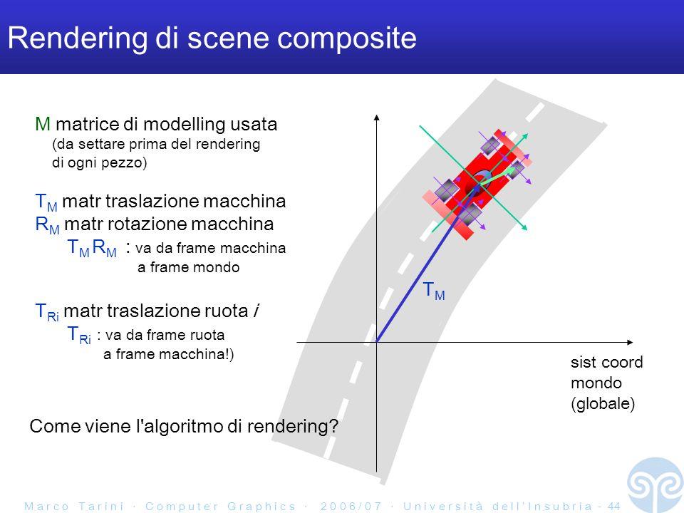 M a r c o T a r i n i C o m p u t e r G r a p h i c s 2 0 0 6 / 0 7 U n i v e r s i t à d e l l I n s u b r i a - 44 Rendering di scene composite M matrice di modelling usata (da settare prima del rendering di ogni pezzo) T M matr traslazione macchina R M matr rotazione macchina T M R M : va da frame macchina a frame mondo T Ri matr traslazione ruota i T Ri : va da frame ruota a frame macchina!) sist coord mondo (globale) TMTM Come viene l algoritmo di rendering