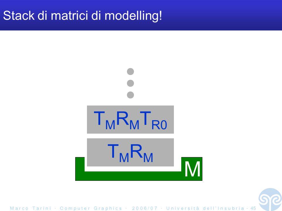 M a r c o T a r i n i C o m p u t e r G r a p h i c s 2 0 0 6 / 0 7 U n i v e r s i t à d e l l I n s u b r i a - 45 Stack di matrici di modelling.