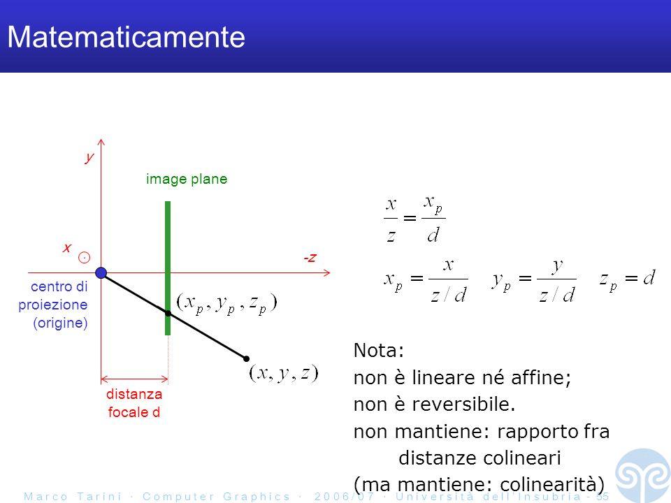 M a r c o T a r i n i C o m p u t e r G r a p h i c s 2 0 0 6 / 0 7 U n i v e r s i t à d e l l I n s u b r i a - 55 Matematicamente y -z distanza focale d image plane centro di proiezione (origine) x Nota: non è lineare né affine; non è reversibile.