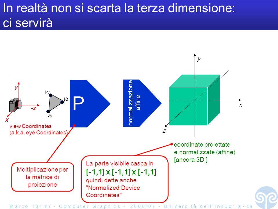 M a r c o T a r i n i C o m p u t e r G r a p h i c s 2 0 0 6 / 0 7 U n i v e r s i t à d e l l I n s u b r i a - 58 In realtà non si scarta la terza dimensione: ci servirà P y -z v0v0 v1v1 v2v2 view Coordinates (a.k.a.