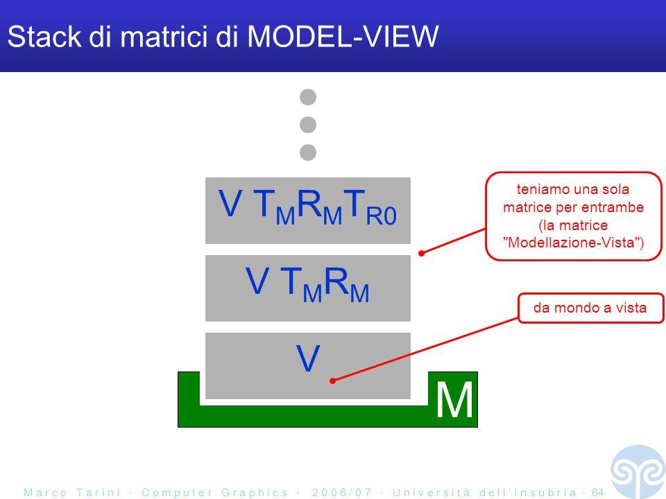 M a r c o T a r i n i C o m p u t e r G r a p h i c s 2 0 0 6 / 0 7 U n i v e r s i t à d e l l I n s u b r i a - 64 Stack di matrici di MODEL-VIEW M V T M R M V T M R M T R0 V teniamo una sola matrice per entrambe (la matrice Modellazione-Vista ) da mondo a vista