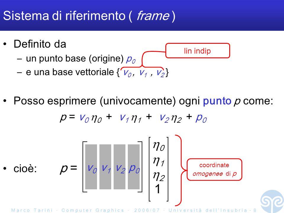 M a r c o T a r i n i C o m p u t e r G r a p h i c s 2 0 0 6 / 0 7 U n i v e r s i t à d e l l I n s u b r i a - 8 Sistema di riferimento ( frame ) Definito da –un punto base (origine) p 0 –e una base vettoriale { v 0, v 1, v 2 } Posso esprimere (univocamente) ogni punto p come: p = v 0 0 + v 1 1 + v 2 2 + p 0 coordinate omogenee di p lin indip cioè: p = v0v0 v1v1 v2v2 p0p0 0 1 2 1
