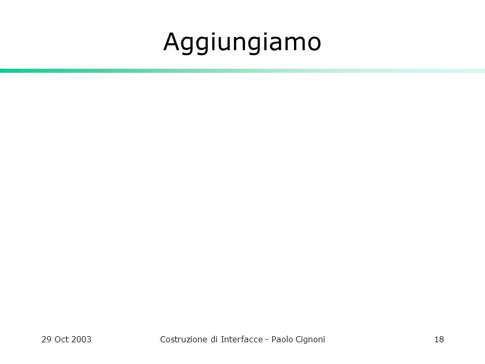 29 Oct 2003Costruzione di Interfacce - Paolo Cignoni18 Aggiungiamo