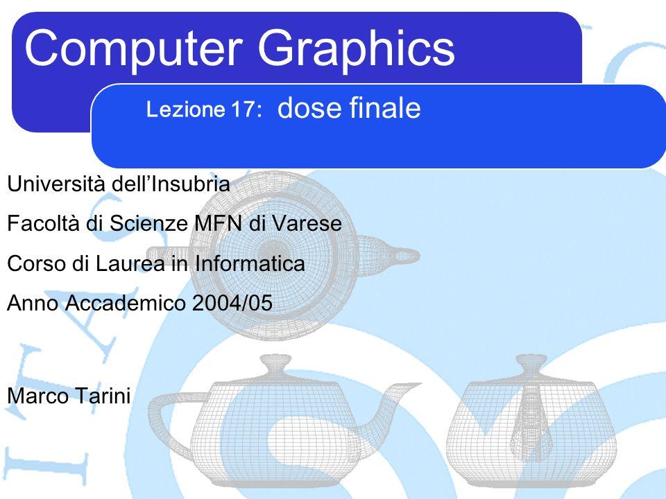 Computer Graphics Marco Tarini Università dellInsubria Facoltà di Scienze MFN di Varese Corso di Laurea in Informatica Anno Accademico 2004/05 Lezione 17: dose finale