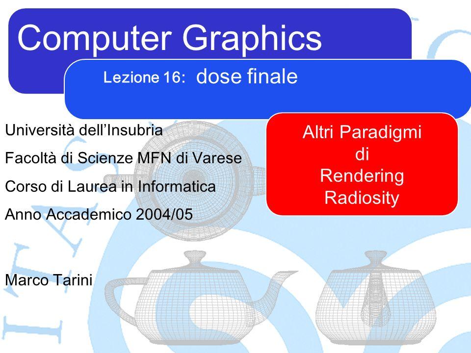 Computer Graphics Marco Tarini Università dellInsubria Facoltà di Scienze MFN di Varese Corso di Laurea in Informatica Anno Accademico 2004/05 Lezione 16: dose finale Altri Paradigmi di Rendering Radiosity