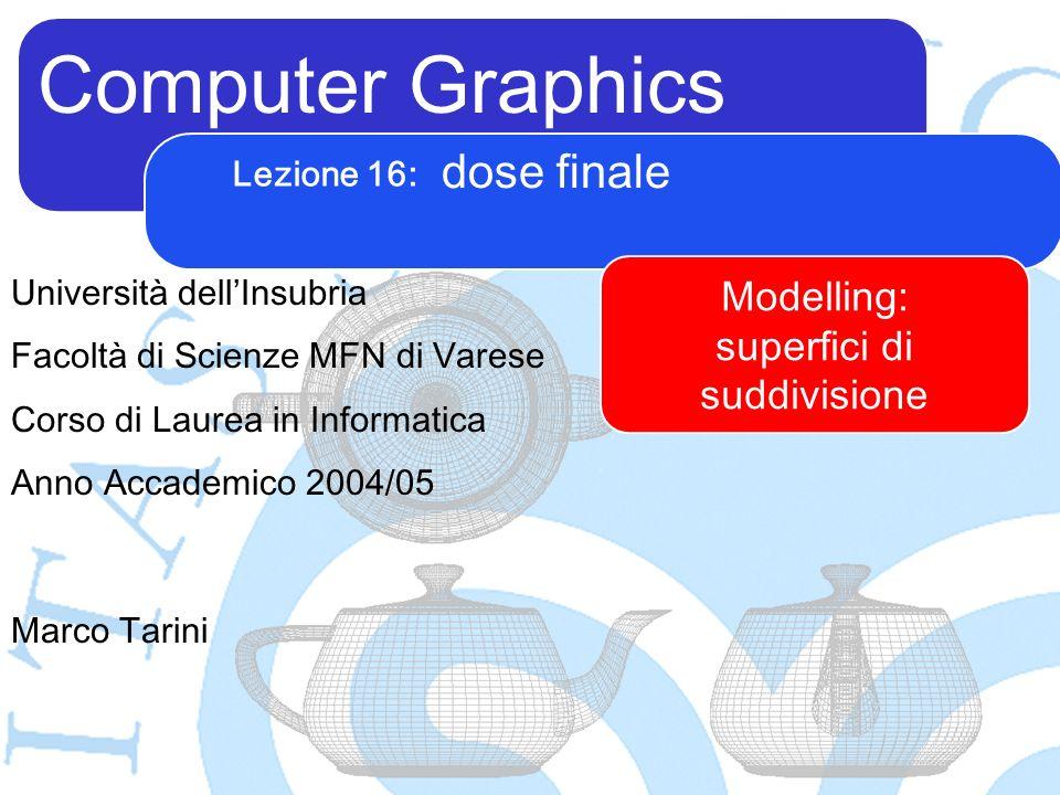 Computer Graphics Marco Tarini Università dellInsubria Facoltà di Scienze MFN di Varese Corso di Laurea in Informatica Anno Accademico 2004/05 Lezione 16: dose finale Modelling: superfici di suddivisione