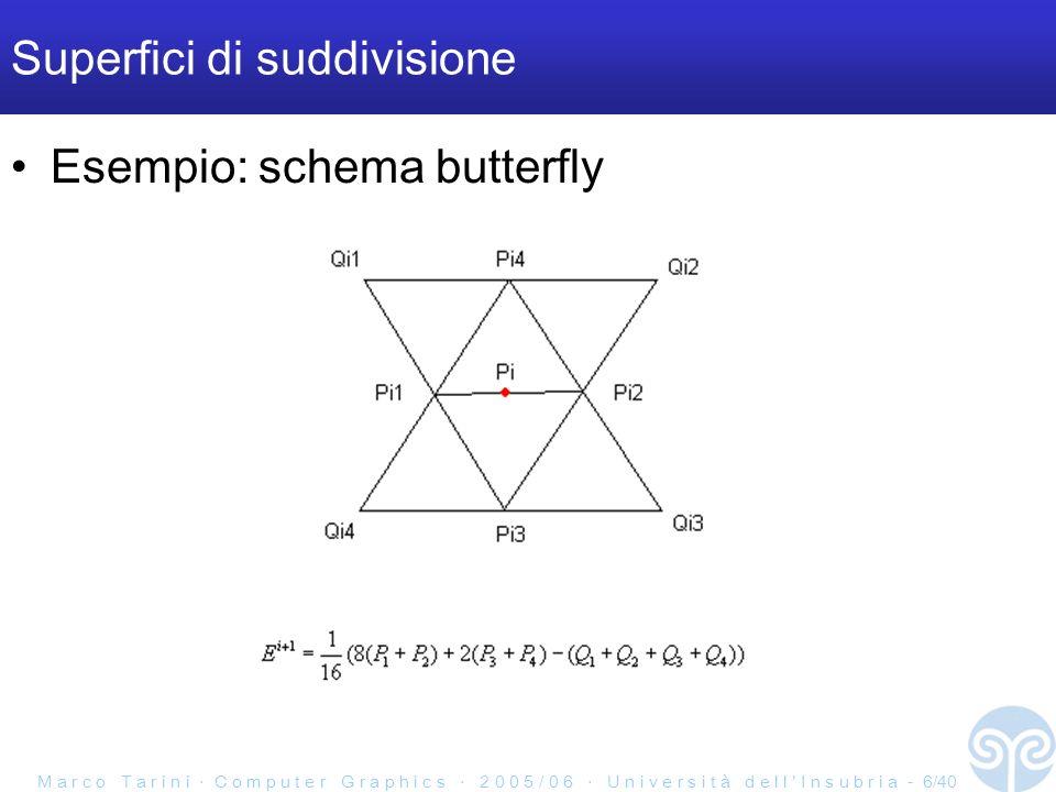 M a r c o T a r i n i C o m p u t e r G r a p h i c s 2 0 0 5 / 0 6 U n i v e r s i t à d e l l I n s u b r i a - 6/40 Superfici di suddivisione Esempio: schema butterfly