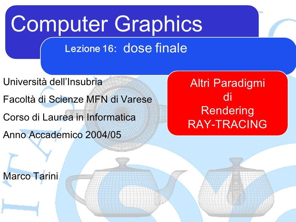 Computer Graphics Marco Tarini Università dellInsubria Facoltà di Scienze MFN di Varese Corso di Laurea in Informatica Anno Accademico 2004/05 Lezione 16: dose finale Altri Paradigmi di Rendering RAY-TRACING