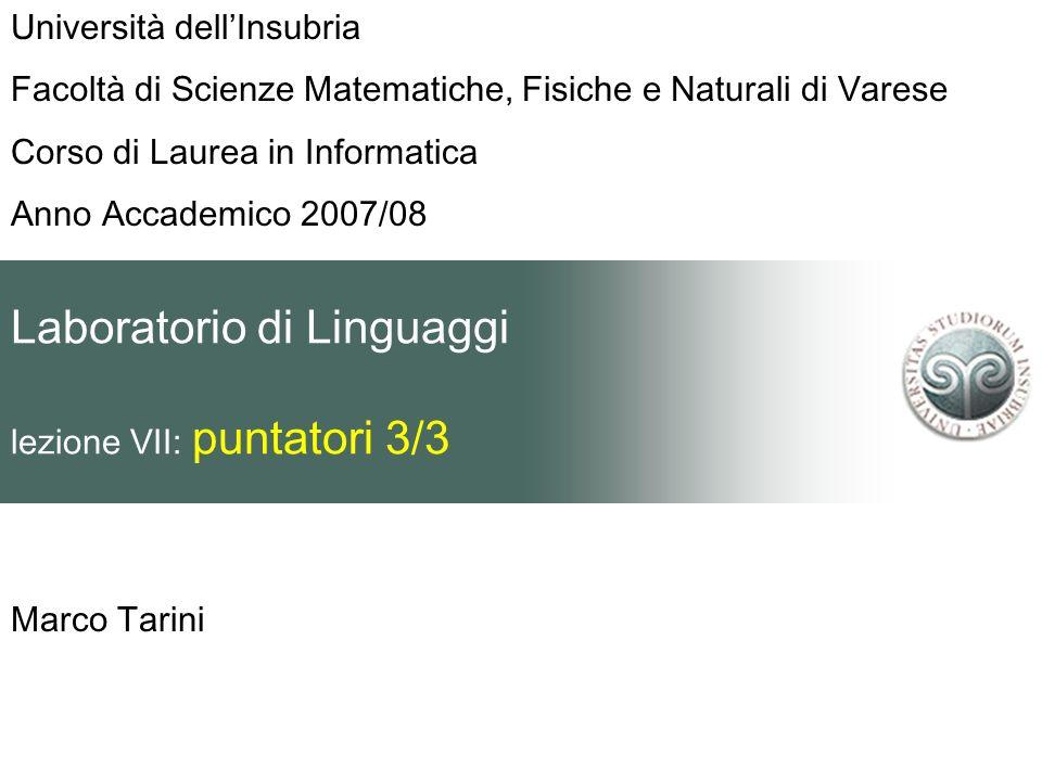 Laboratorio di Linguaggi lezione VII: puntatori 3/3 Marco Tarini Università dellInsubria Facoltà di Scienze Matematiche, Fisiche e Naturali di Varese