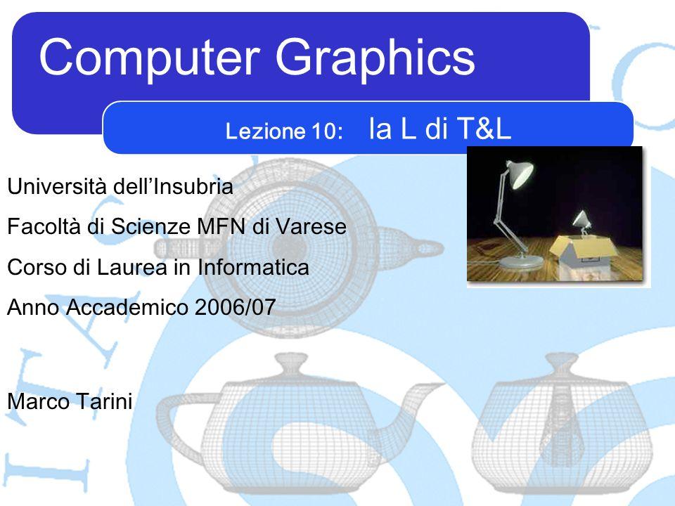 Computer Graphics Marco Tarini Università dellInsubria Facoltà di Scienze MFN di Varese Corso di Laurea in Informatica Anno Accademico 2006/07 Lezione 10: la L di T&L