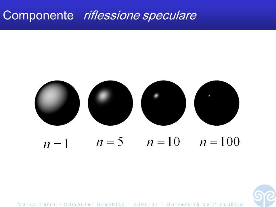 M a r c o T a r i n i C o m p u t e r G r a p h I c s 2 0 0 6 / 0 7 U n i v e r s i t à d e l l I n s u b r i a Componente riflessione speculare