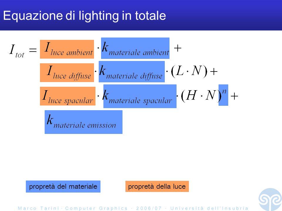 M a r c o T a r i n i C o m p u t e r G r a p h I c s 2 0 0 6 / 0 7 U n i v e r s i t à d e l l I n s u b r i a Equazione di lighting in totale propretà del materiale propretà della luce