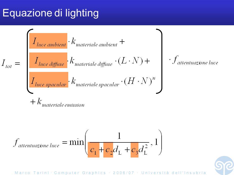 M a r c o T a r i n i C o m p u t e r G r a p h I c s 2 0 0 6 / 0 7 U n i v e r s i t à d e l l I n s u b r i a Equazione di lighting
