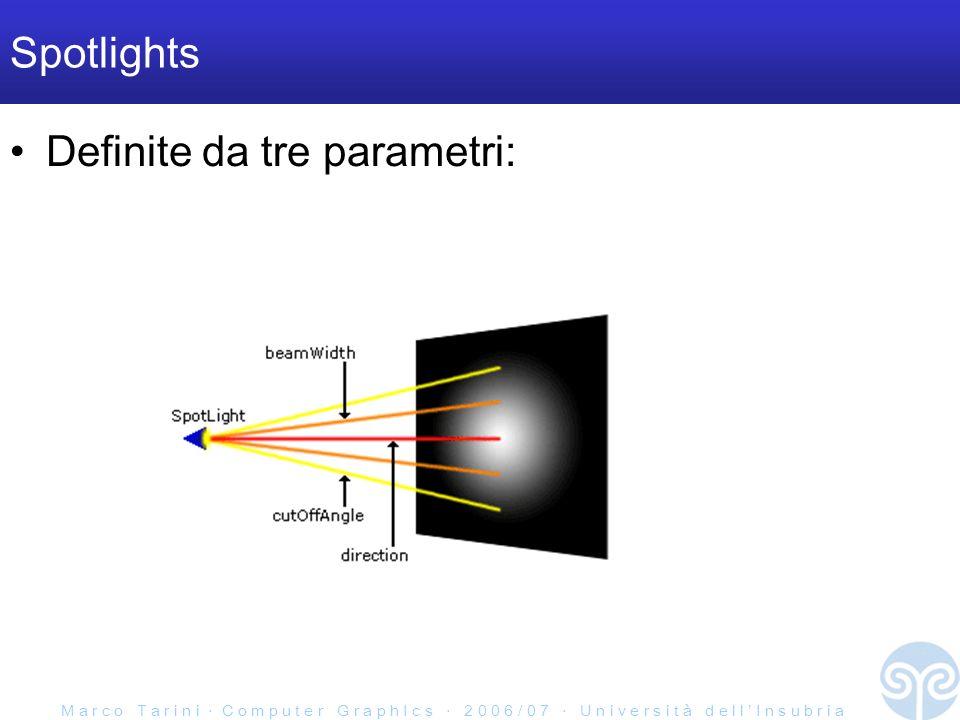 M a r c o T a r i n i C o m p u t e r G r a p h I c s 2 0 0 6 / 0 7 U n i v e r s i t à d e l l I n s u b r i a Spotlights Definite da tre parametri:
