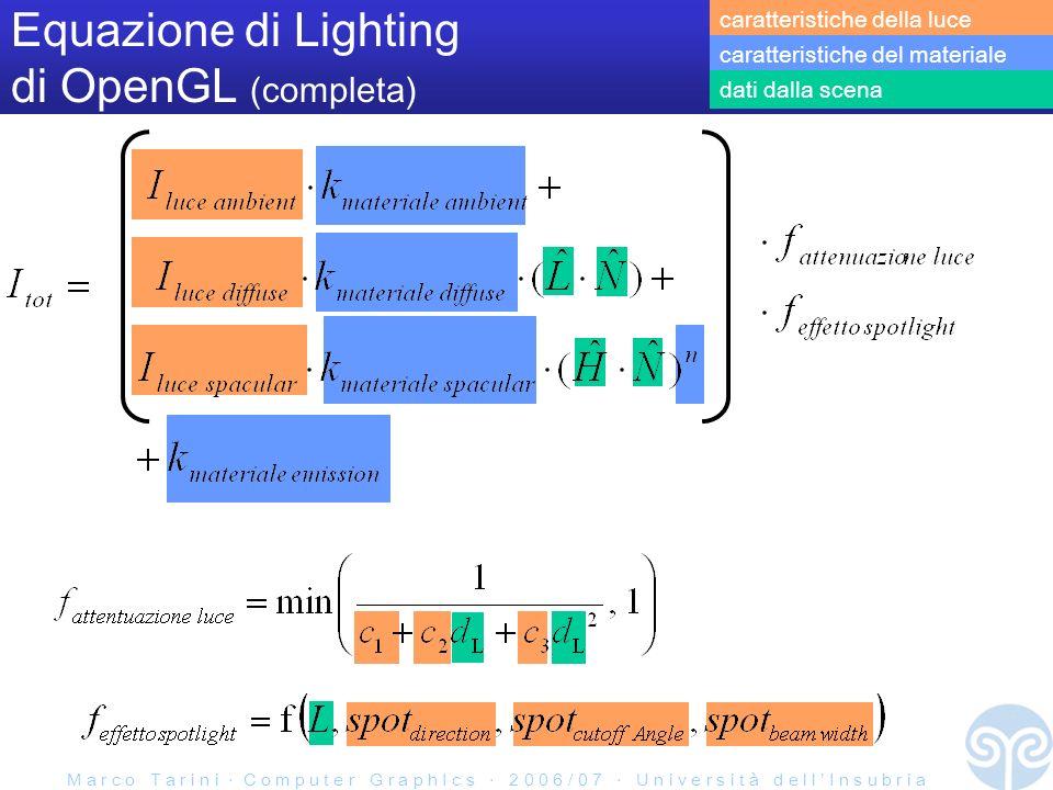 M a r c o T a r i n i C o m p u t e r G r a p h I c s 2 0 0 6 / 0 7 U n i v e r s i t à d e l l I n s u b r i a Equazione di Lighting di OpenGL (completa) caratteristiche della luce caratteristiche del materiale dati dalla scena