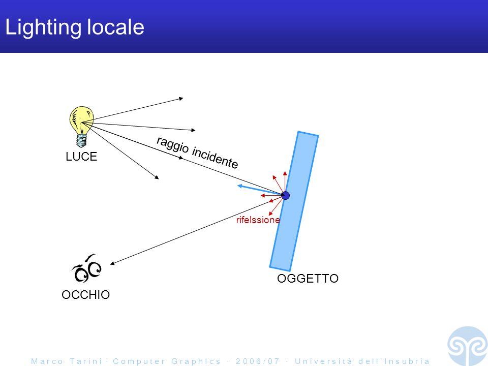 M a r c o T a r i n i C o m p u t e r G r a p h I c s 2 0 0 6 / 0 7 U n i v e r s i t à d e l l I n s u b r i a Componente riflessione speculare Blinn-Phong light model: semplificazione del Phong light model risultati simili, formula diversa: phong: blinn-phong: N L R V H = L + V / |L+V| half-way vector
