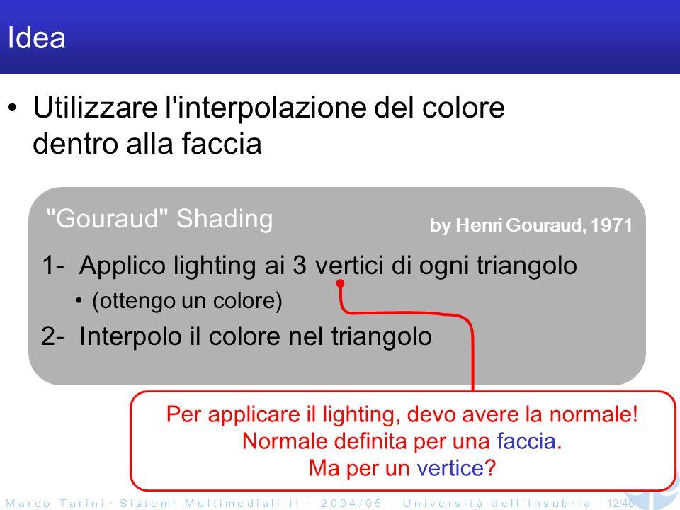 M a r c o T a r i n i S i s t e m i M u l t i m e d i a l i I I 2 0 0 4 / 0 5 U n i v e r s i t à d e l l I n s u b r i a - 12/40 Gouraud Shading Idea Utilizzare l interpolazione del colore dentro alla faccia 1- Applico lighting ai 3 vertici di ogni triangolo (ottengo un colore) 2- Interpolo il colore nel triangolo Per applicare il lighting, devo avere la normale.