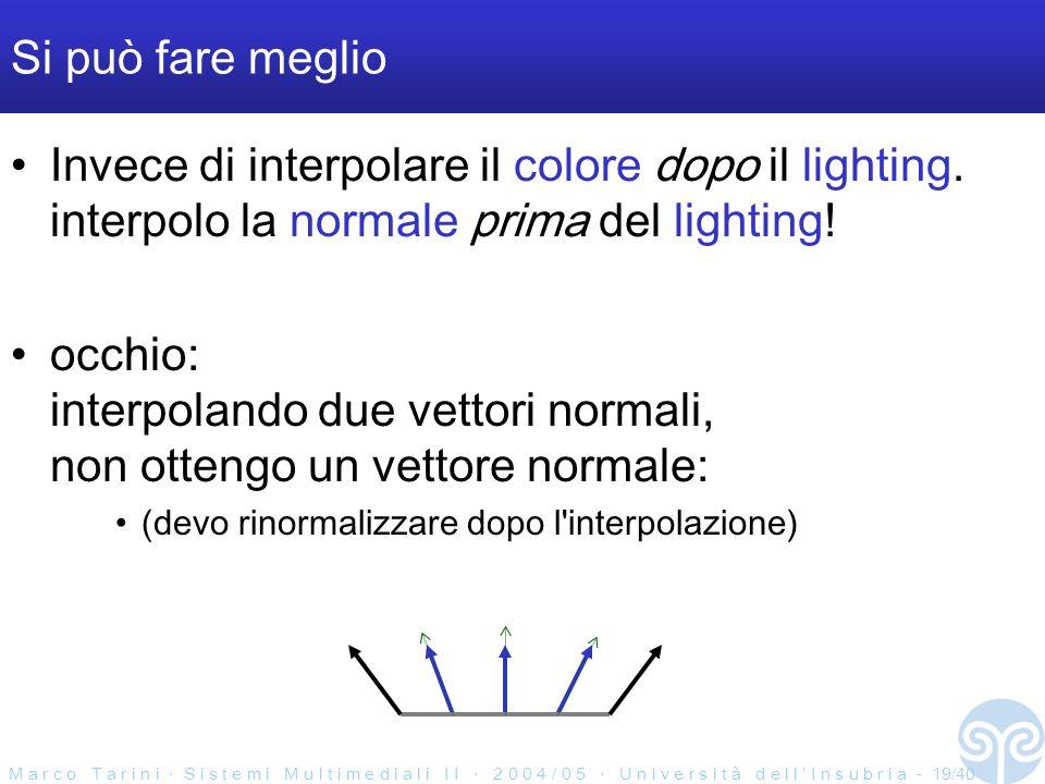 M a r c o T a r i n i S i s t e m i M u l t i m e d i a l i I I 2 0 0 4 / 0 5 U n i v e r s i t à d e l l I n s u b r i a - 19/40 Si può fare meglio Invece di interpolare il colore dopo il lighting.