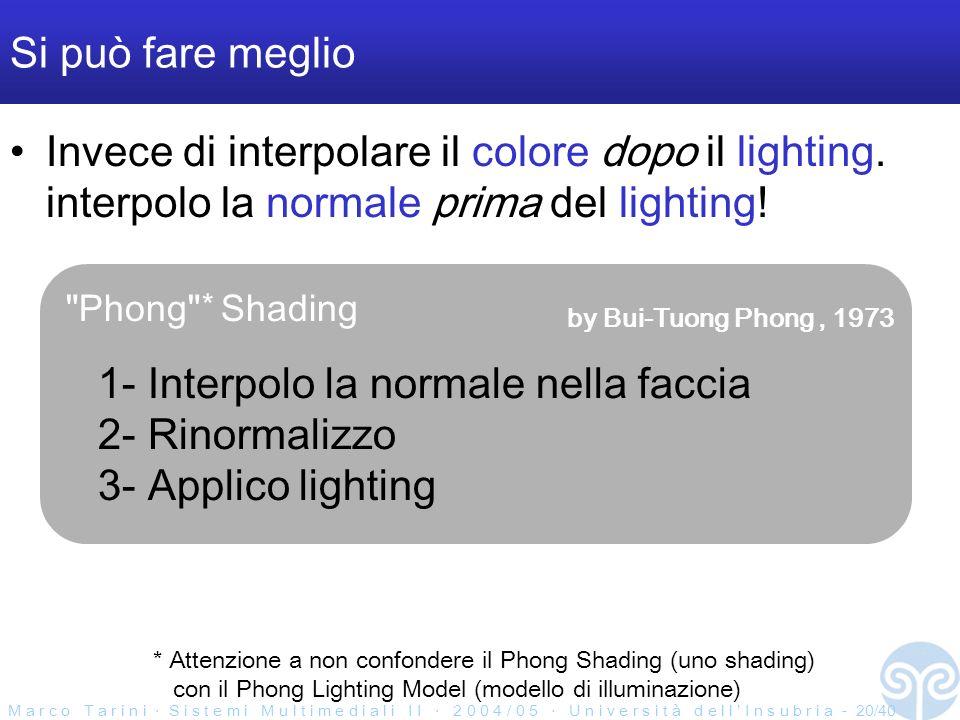 M a r c o T a r i n i S i s t e m i M u l t i m e d i a l i I I 2 0 0 4 / 0 5 U n i v e r s i t à d e l l I n s u b r i a - 20/40 Si può fare meglio Invece di interpolare il colore dopo il lighting.