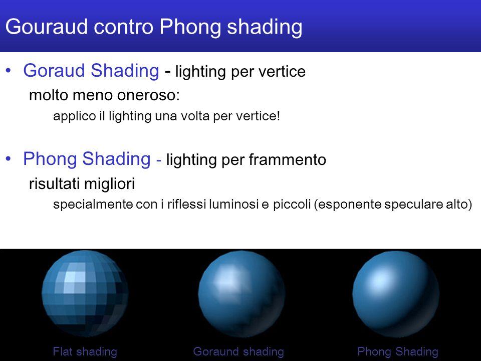 M a r c o T a r i n i S i s t e m i M u l t i m e d i a l i I I 2 0 0 4 / 0 5 U n i v e r s i t à d e l l I n s u b r i a - 22/40 Gouraud contro Phong shading Goraud Shading - lighting per vertice molto meno oneroso: applico il lighting una volta per vertice.