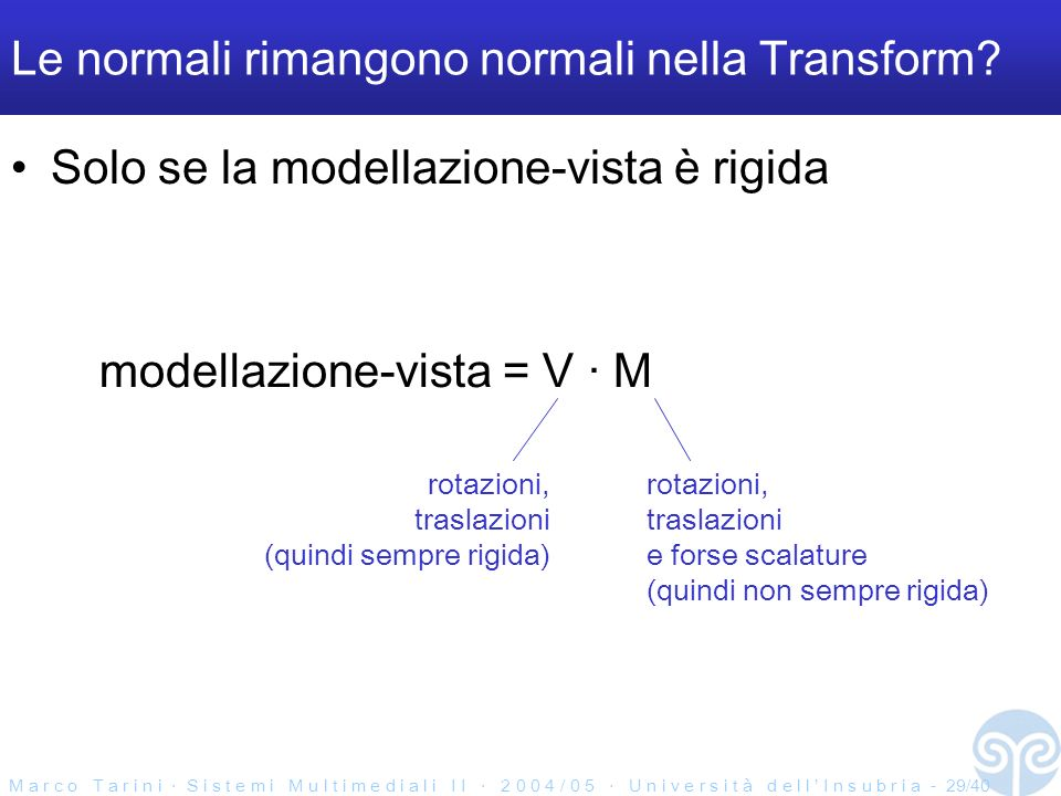 M a r c o T a r i n i S i s t e m i M u l t i m e d i a l i I I 2 0 0 4 / 0 5 U n i v e r s i t à d e l l I n s u b r i a - 29/40 Le normali rimangono normali nella Transform.