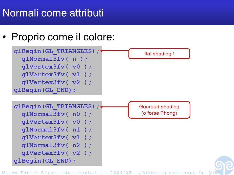 M a r c o T a r i n i S i s t e m i M u l t i m e d i a l i I I 2 0 0 4 / 0 5 U n i v e r s i t à d e l l I n s u b r i a - 31/40 Normali come attributi Proprio come il colore: glBegin(GL_TRIANGLES); glNormal3fv( n ); glVertex3fv( v0 ); glVertex3fv( v1 ); glVertex3fv( v2 ); glBegin(GL_END); glBegin(GL_TRIANGLES); glNormal3fv( n0 ); glVertex3fv( v0 ); glNormal3fv( n1 ); glVertex3fv( v1 ); glNormal3fv( n2 ); glVertex3fv( v2 ); glBegin(GL_END); flat shading .