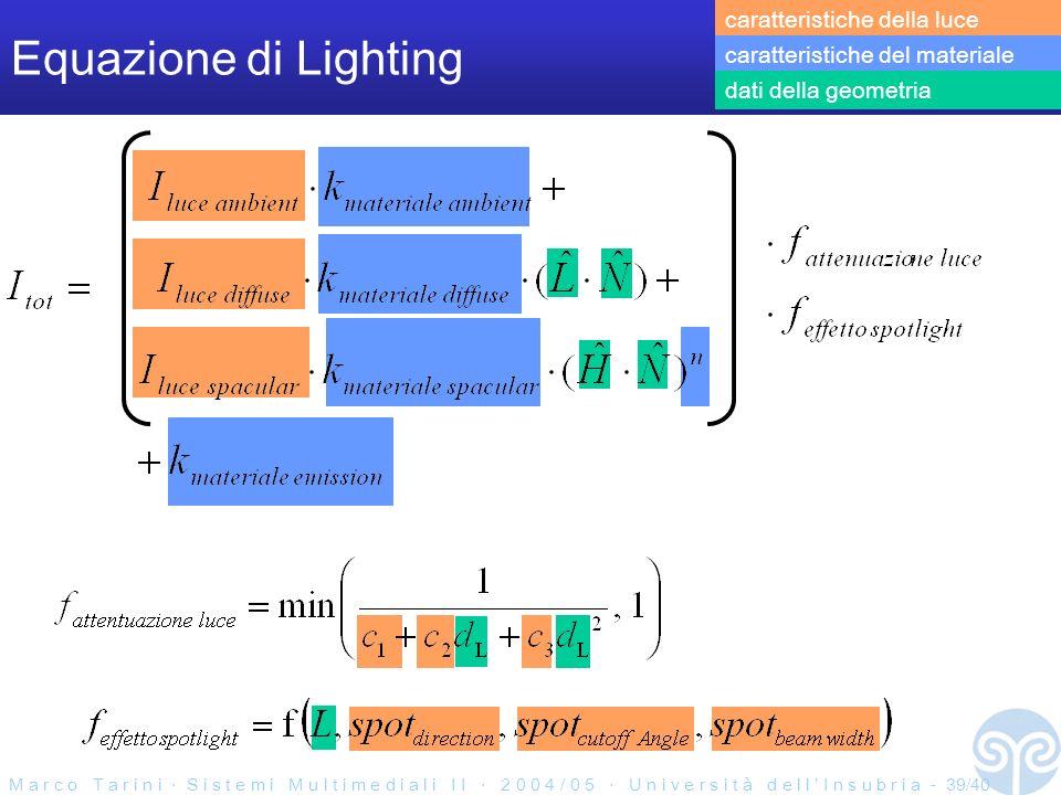 M a r c o T a r i n i S i s t e m i M u l t i m e d i a l i I I 2 0 0 4 / 0 5 U n i v e r s i t à d e l l I n s u b r i a - 39/40 Equazione di Lighting caratteristiche della luce caratteristiche del materiale dati della geometria