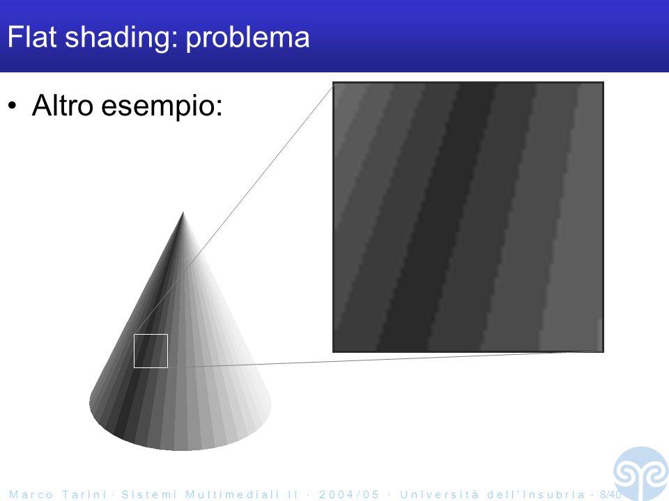 M a r c o T a r i n i S i s t e m i M u l t i m e d i a l i I I 2 0 0 4 / 0 5 U n i v e r s i t à d e l l I n s u b r i a - 9/40 Flat shading: problema Più faccie uso, meno evidente il problema >10.000 faccie, e ancora si vedono gli spigoli artefatti perche?