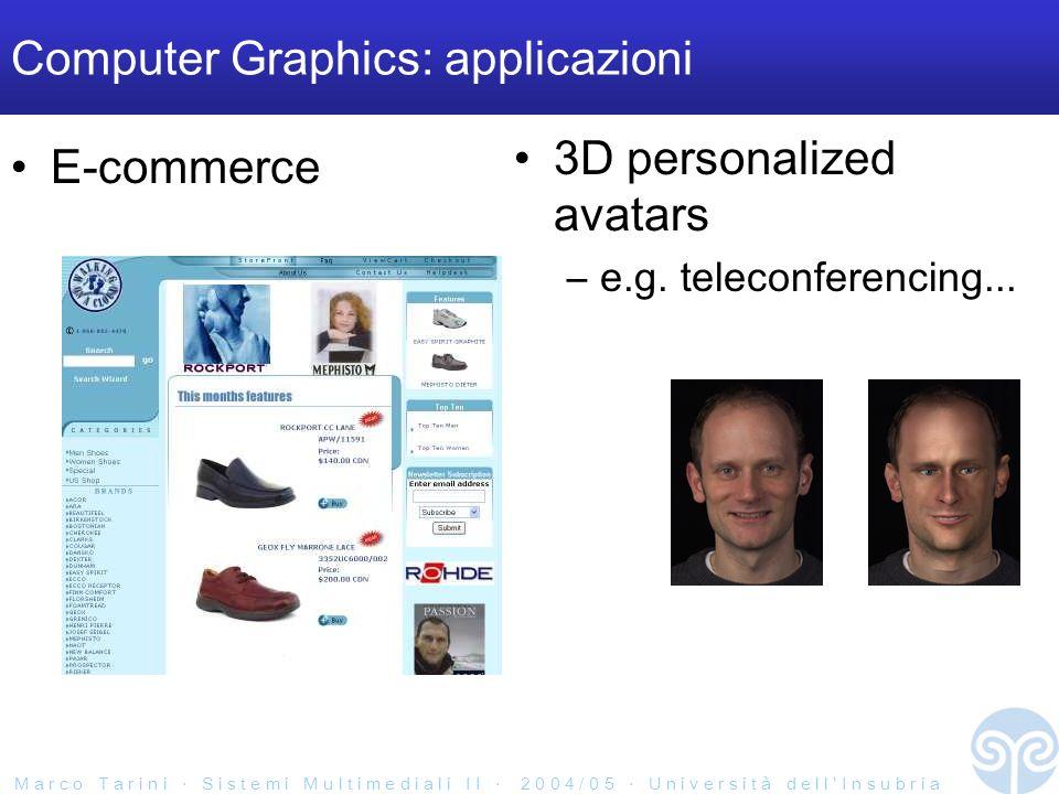 M a r c o T a r i n i S i s t e m i M u l t i m e d i a l i I I 2 0 0 4 / 0 5 U n i v e r s i t à d e l l I n s u b r i a Computer Graphics: applicazioni E-commerce 3D personalized avatars –e.g.