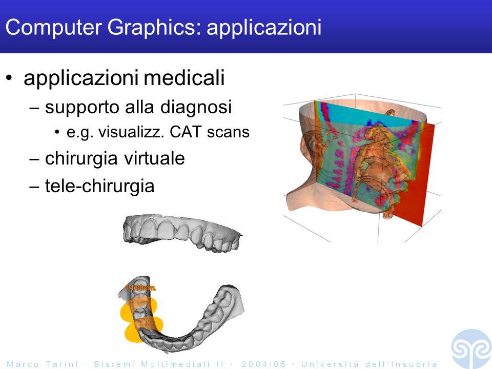 M a r c o T a r i n i S i s t e m i M u l t i m e d i a l i I I 2 0 0 4 / 0 5 U n i v e r s i t à d e l l I n s u b r i a Computer Graphics: applicazioni applicazioni medicali –supporto alla diagnosi e.g.