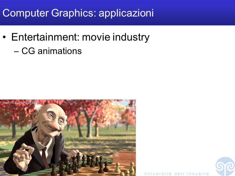M a r c o T a r i n i S i s t e m i M u l t i m e d i a l i I I 2 0 0 4 / 0 5 U n i v e r s i t à d e l l I n s u b r i a Computer Graphics: applicazi