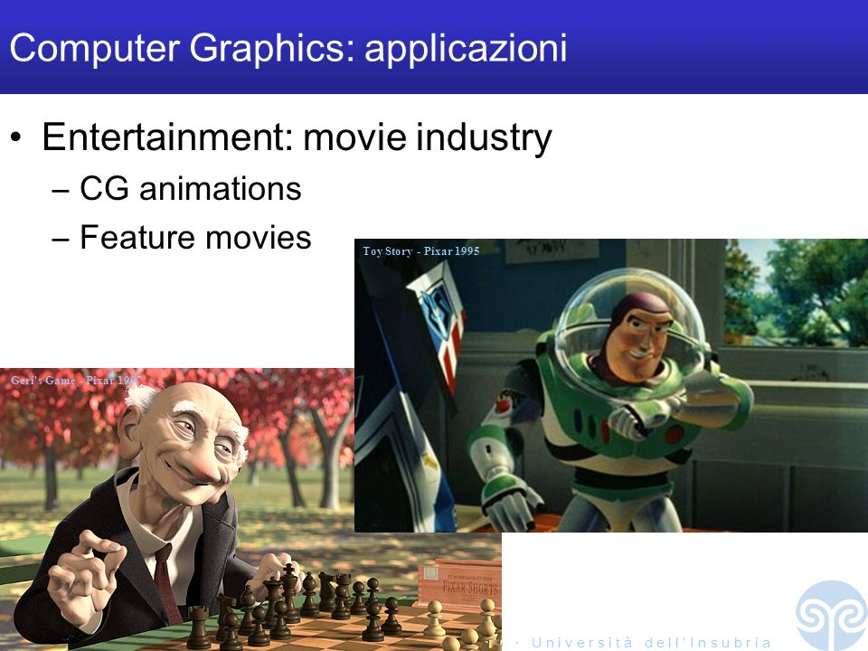 M a r c o T a r i n i S i s t e m i M u l t i m e d i a l i I I 2 0 0 4 / 0 5 U n i v e r s i t à d e l l I n s u b r i a Computer Graphics: applicazioni Entertainment: movie industry –CG animations –Feature movies Toy Story - Pixar 1995 Geri s Game - Pixar 1997