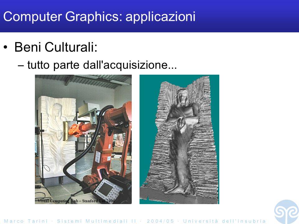 M a r c o T a r i n i S i s t e m i M u l t i m e d i a l i I I 2 0 0 4 / 0 5 U n i v e r s i t à d e l l I n s u b r i a Computer Graphics: applicazioni Beni Culturali: –tutto parte dall acquisizione...