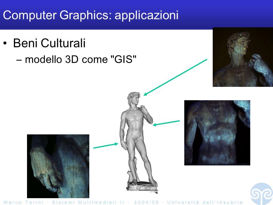 M a r c o T a r i n i S i s t e m i M u l t i m e d i a l i I I 2 0 0 4 / 0 5 U n i v e r s i t à d e l l I n s u b r i a Computer Graphics: applicazioni Beni Culturali –modello 3D come GIS