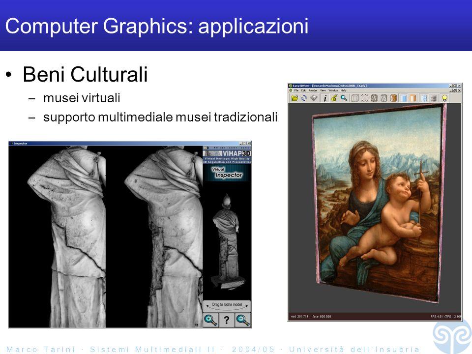 M a r c o T a r i n i S i s t e m i M u l t i m e d i a l i I I 2 0 0 4 / 0 5 U n i v e r s i t à d e l l I n s u b r i a Computer Graphics: applicazioni Beni Culturali –musei virtuali –supporto multimediale musei tradizionali
