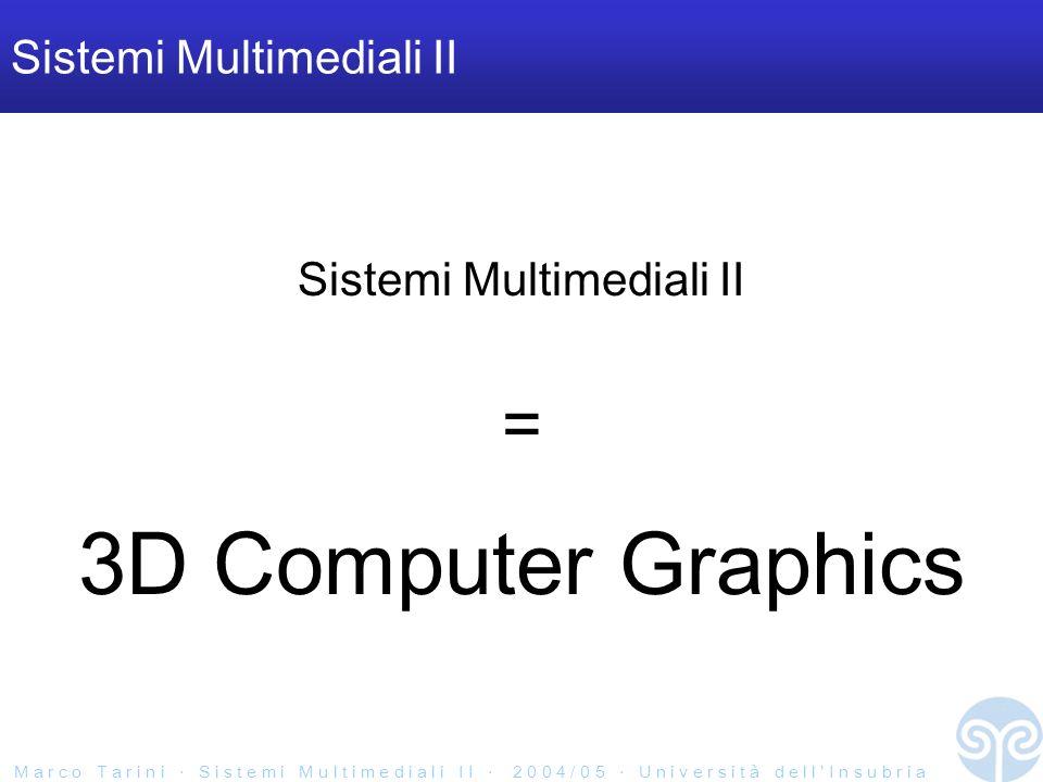 M a r c o T a r i n i S i s t e m i M u l t i m e d i a l i I I 2 0 0 4 / 0 5 U n i v e r s i t à d e l l I n s u b r i a Frame buffer Una porzione di memoria dedicata alla memorizzazione dellimmagine –come array 2D di pixel da mostrare a video.