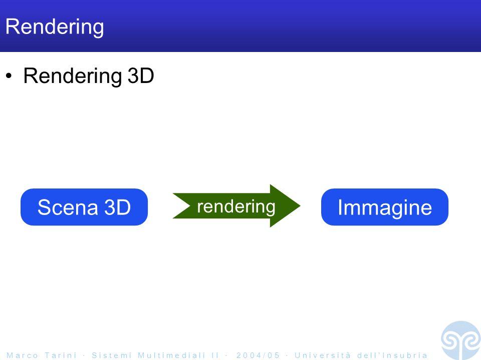 M a r c o T a r i n i S i s t e m i M u l t i m e d i a l i I I 2 0 0 4 / 0 5 U n i v e r s i t à d e l l I n s u b r i a Rendering Rendering 3D Scena 3D rendering Immagine
