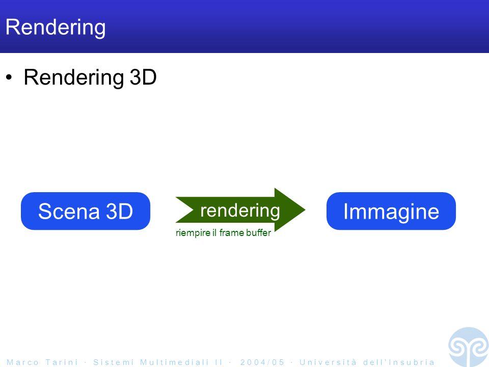M a r c o T a r i n i S i s t e m i M u l t i m e d i a l i I I 2 0 0 4 / 0 5 U n i v e r s i t à d e l l I n s u b r i a Rendering Rendering 3D Scena 3D rendering Immagine riempire il frame buffer