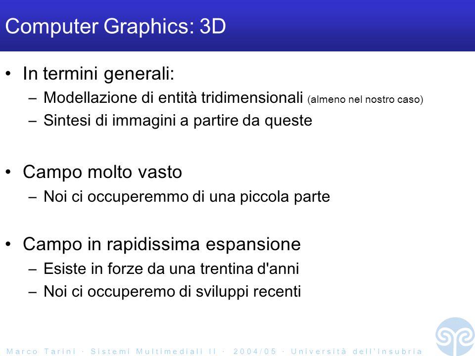 M a r c o T a r i n i S i s t e m i M u l t i m e d i a l i I I 2 0 0 4 / 0 5 U n i v e r s i t à d e l l I n s u b r i a Immagine Rendering Rendering 3D Scena 3D rendering...
