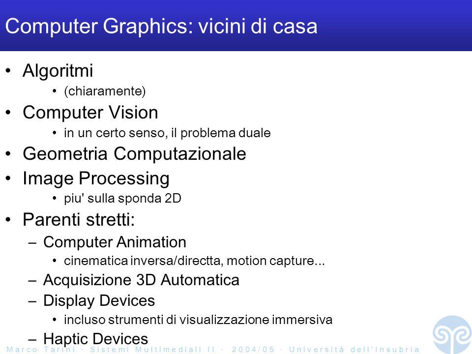 M a r c o T a r i n i S i s t e m i M u l t i m e d i a l i I I 2 0 0 4 / 0 5 U n i v e r s i t à d e l l I n s u b r i a Computer Graphics: vicini di casa Algoritmi (chiaramente) Computer Vision in un certo senso, il problema duale Geometria Computazionale Image Processing piu sulla sponda 2D Parenti stretti: –Computer Animation cinematica inversa/directta, motion capture...