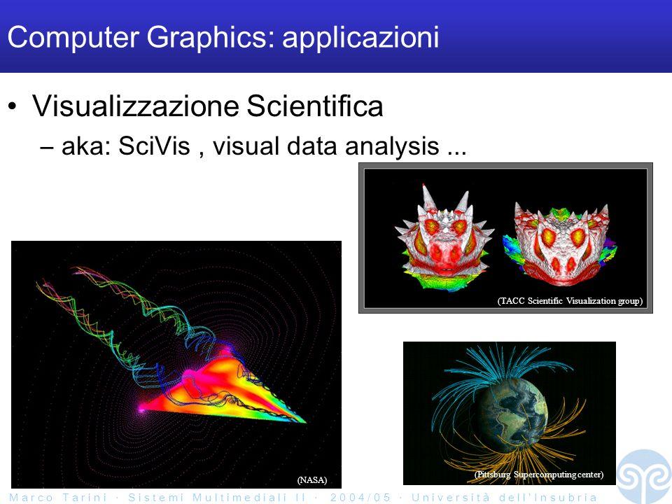 M a r c o T a r i n i S i s t e m i M u l t i m e d i a l i I I 2 0 0 4 / 0 5 U n i v e r s i t à d e l l I n s u b r i a Computer Graphics: applicazioni Visualizzazione Scientifica –aka: SciVis, visual data analysis...