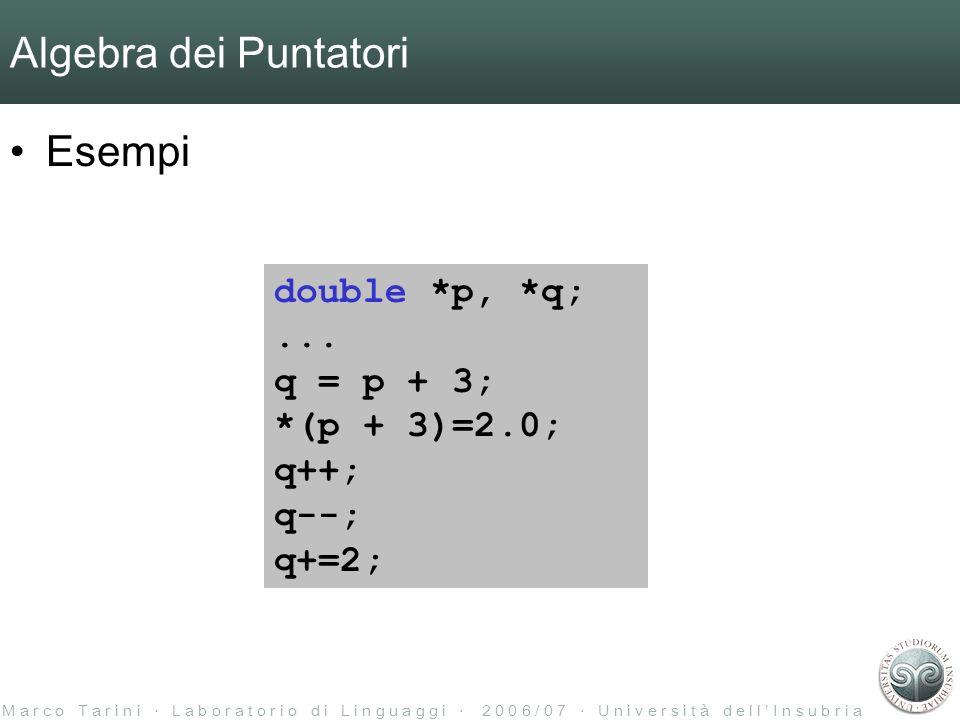 M a r c o T a r i n i L a b o r a t o r i o d i L i n g u a g g i 2 0 0 6 / 0 7 U n i v e r s i t à d e l l I n s u b r i a Algebra dei Puntatori Esempi double *p, *q;...