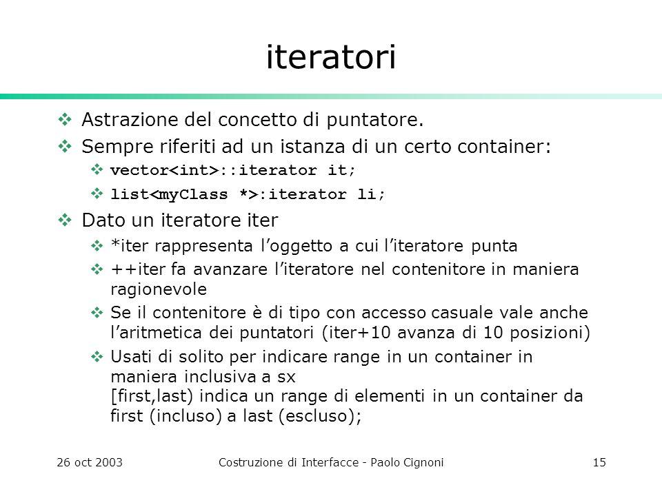26 oct 2003Costruzione di Interfacce - Paolo Cignoni15 iteratori Astrazione del concetto di puntatore. Sempre riferiti ad un istanza di un certo conta
