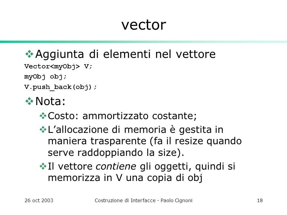 26 oct 2003Costruzione di Interfacce - Paolo Cignoni18 vector Aggiunta di elementi nel vettore Vector V; myObj obj; V.push_back(obj); Nota: Costo: ammortizzato costante; Lallocazione di memoria è gestita in maniera trasparente (fa il resize quando serve raddoppiando la size).