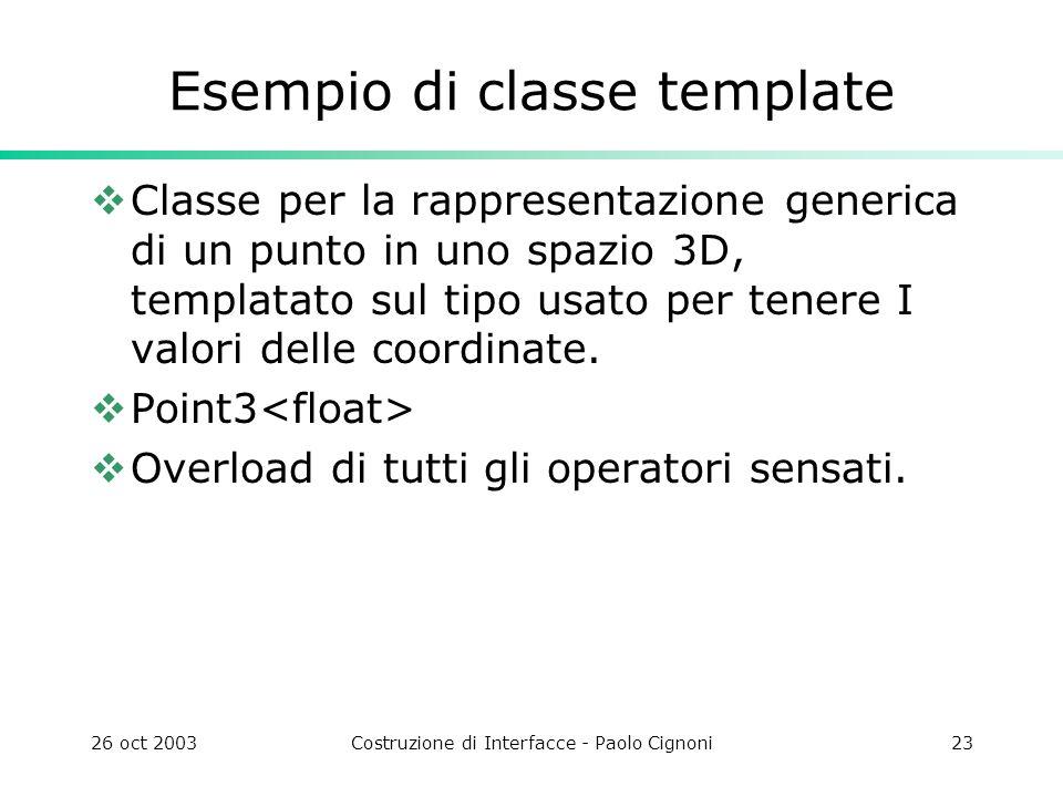 26 oct 2003Costruzione di Interfacce - Paolo Cignoni23 Esempio di classe template Classe per la rappresentazione generica di un punto in uno spazio 3D